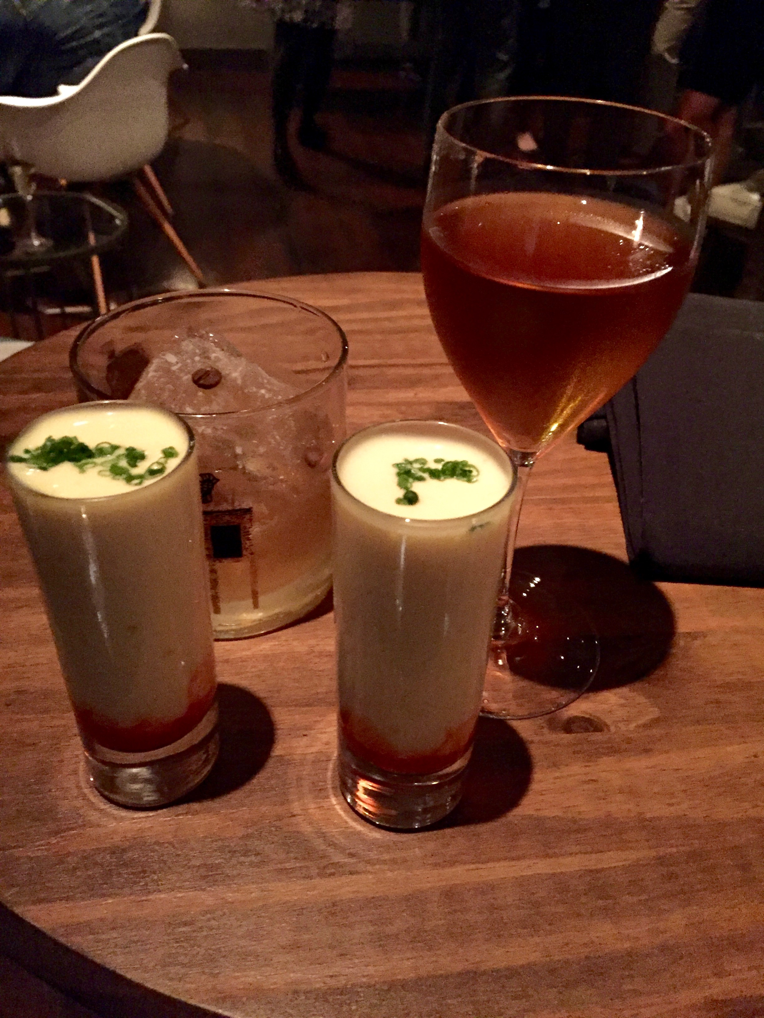 Cocktails & Whipped eggs with a sriracha sauce - I seriously dream of these shooters. They are so damn good.