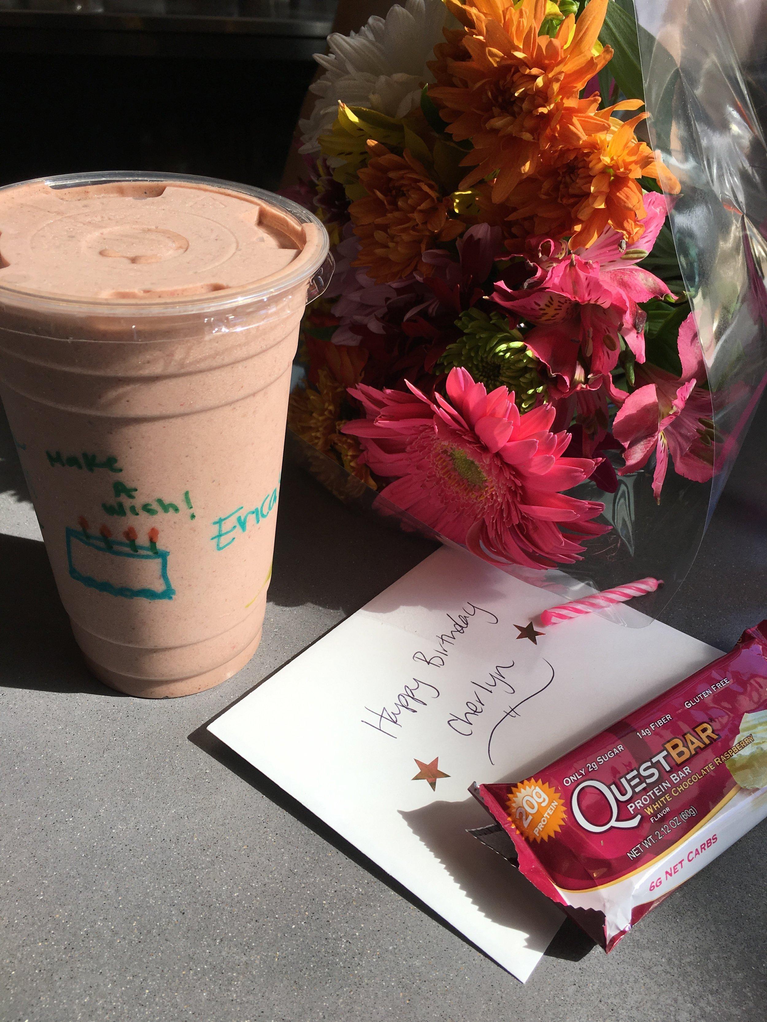 Firecracker Smoothie, flowers, card & protein bar courtesy of Erica Stenz