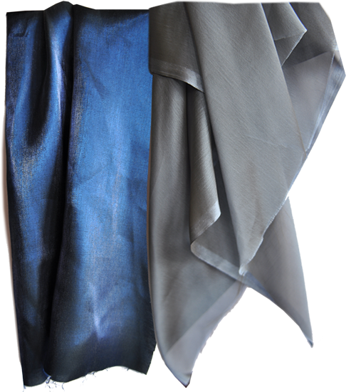Fabric sample: blue nylon/viscose to mimic the look of water and steel blue shot polyester chiffon to highlight the gradual deepening of the water.