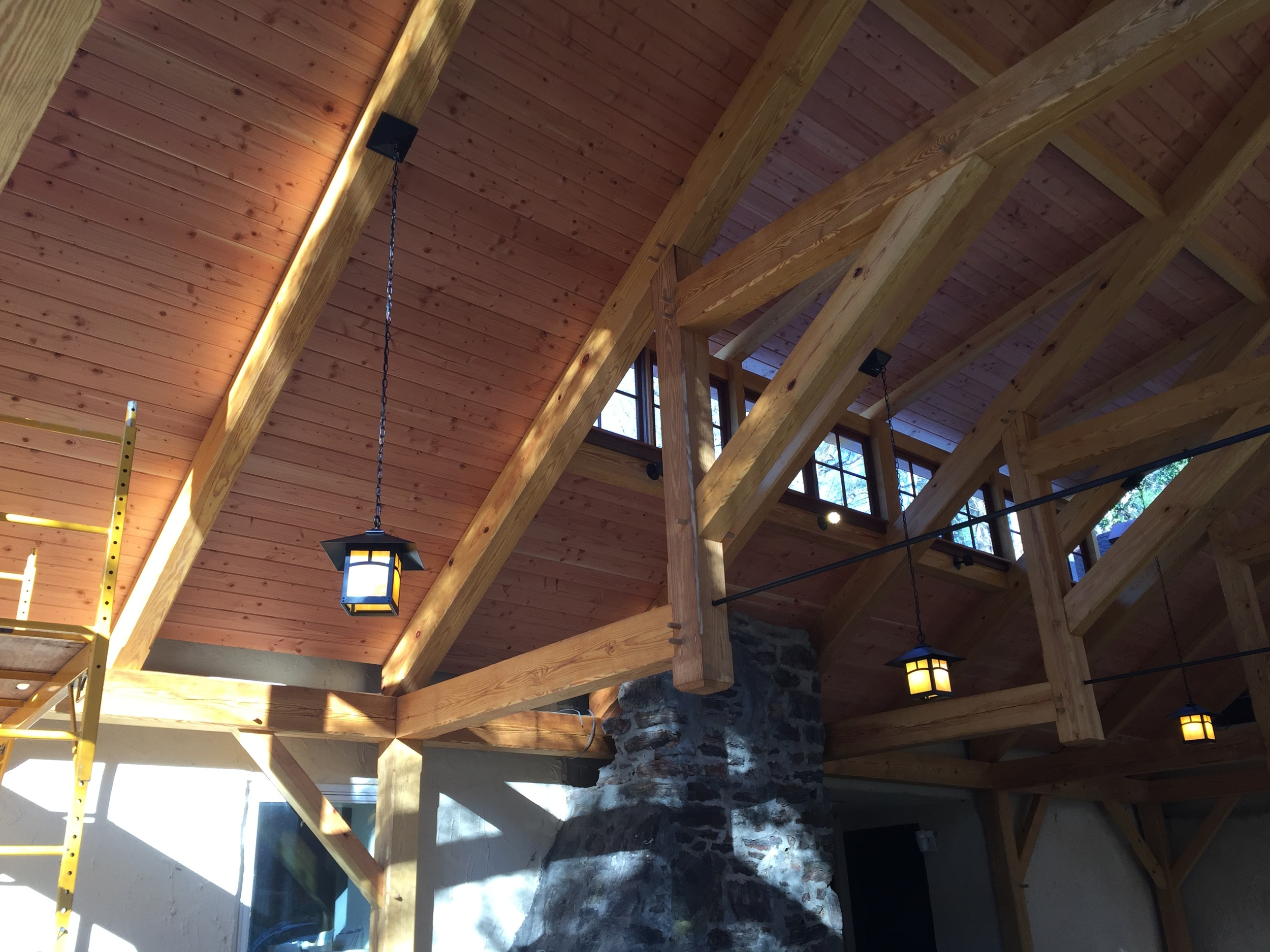 Overhead lighting in new patio pavilion