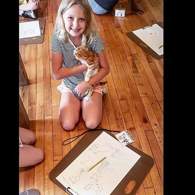 Our summer camp class, 'Operation Animal Resue' had a BLAST playing with and drawing these furry friends today! 😺 Thanks @catscradleva for sharing your lovable kittens with us so these kiddos could learn how to draw from life ✏️🐈