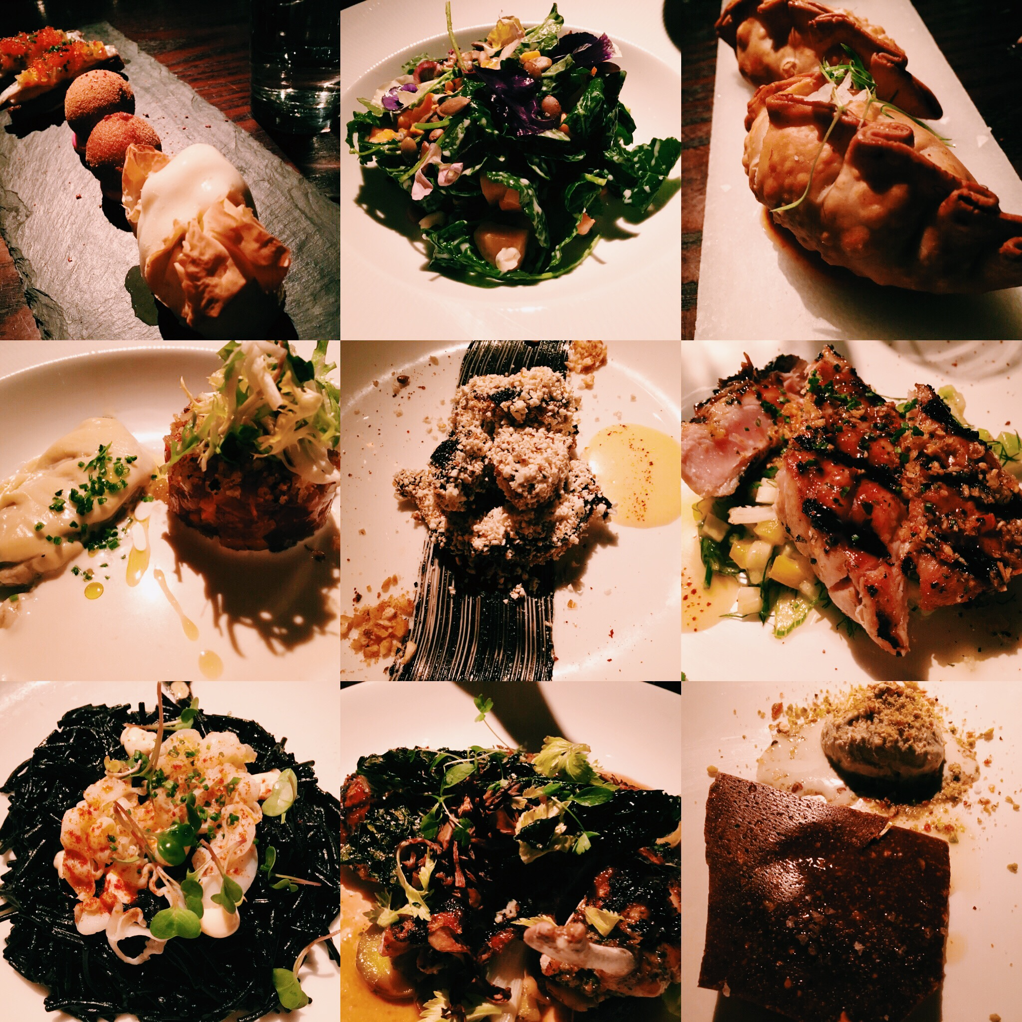 From left to right:    Anchos Jardinera, smoked chicken croquetas and queso mozarabe/Butternut squash, blue cheese, baby kale, toasted seeds with Chardonnay vinaigrette/Spicy shrimp and fish empanadas/Oyster in creme fraiche with tuna tartare/Popcorn crushed baby octopus, spicy pepper squid ink aioli and preserved lemon/Grilled yellow fish tuna skirt steak/Squid ink pasta with shrimp/Grilled chicken, wild mushrooms, judion beans with a vinegar reduction/Pistachio ice cream, crushed nuts and dark chocolate.