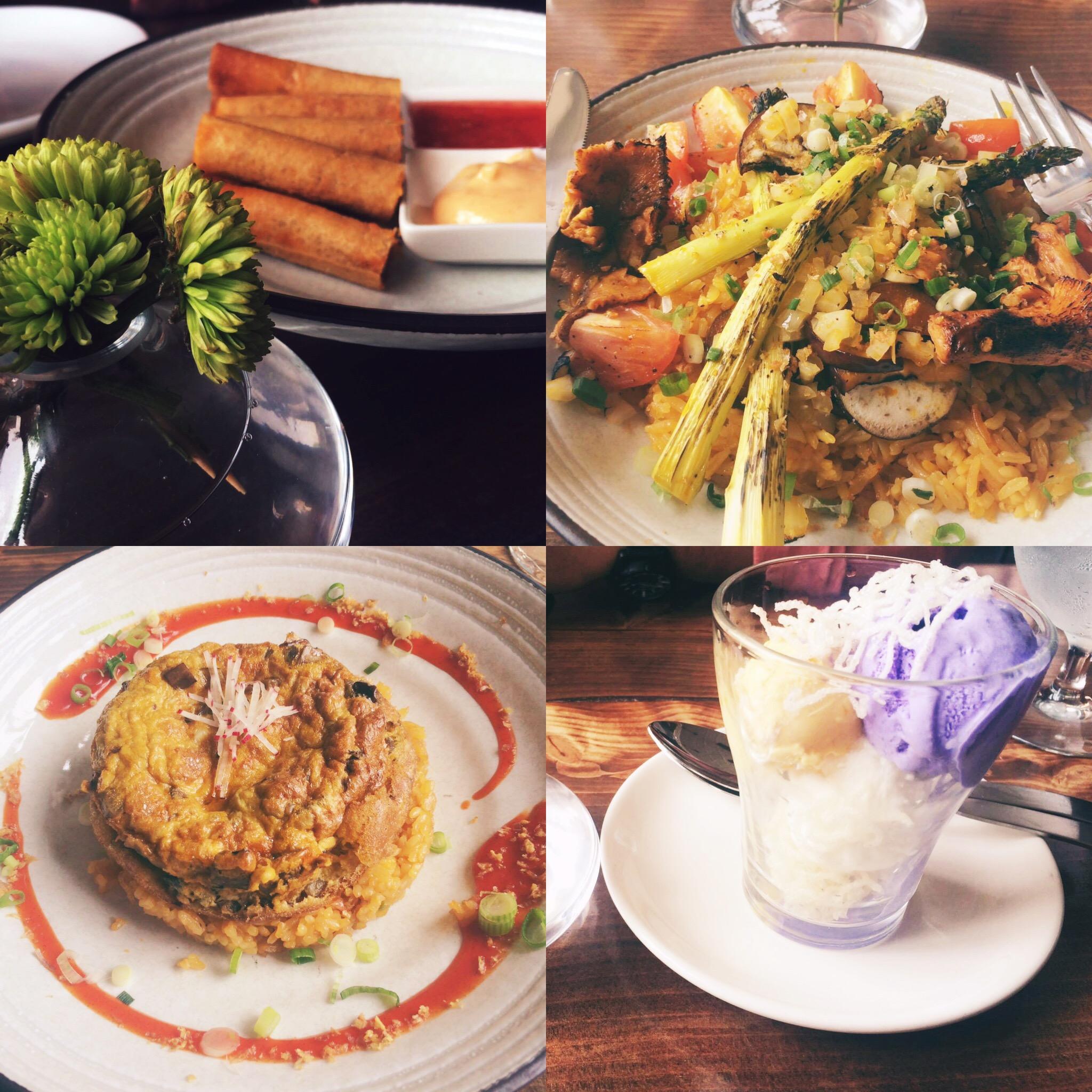 Left to right:Lumpia Shanghai/Roasted Vegetable Paella/Torta Talong/Ube and Mango Ice Cream