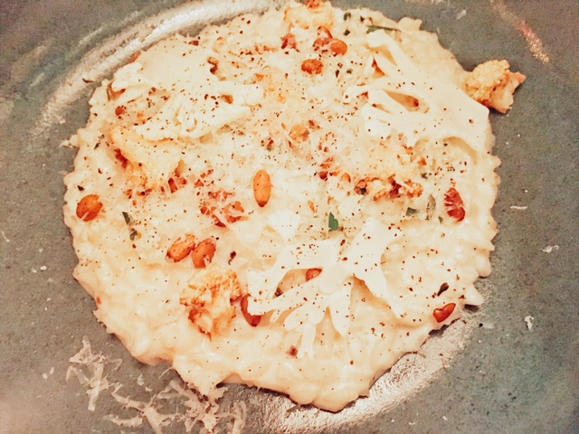 Cauliflower risotto, pine nuts and parmasean
