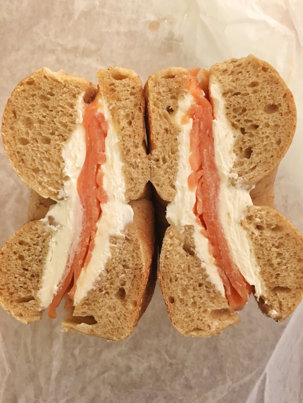 Whole wheat bagel, cream cheese and smoked salmon