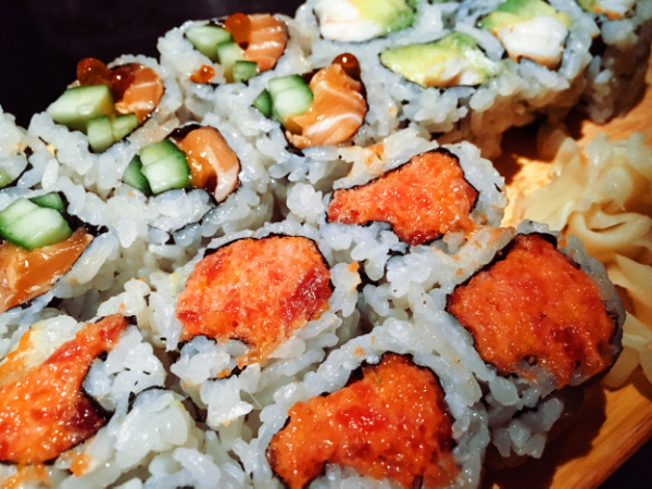 Spicy tuna (front), salmon avocado (back), california roll (right)