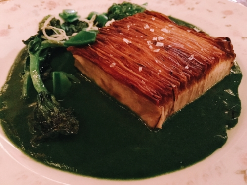 Trumpet royale mushroom millefeuille, green curry and pea leaves