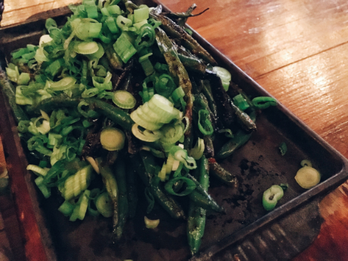 Grilled haricots and scallions in butter and balsamic vinegar
