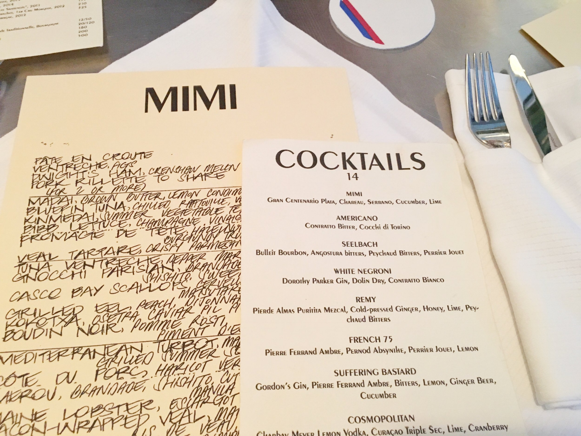 Food and cocktail menu at the bar