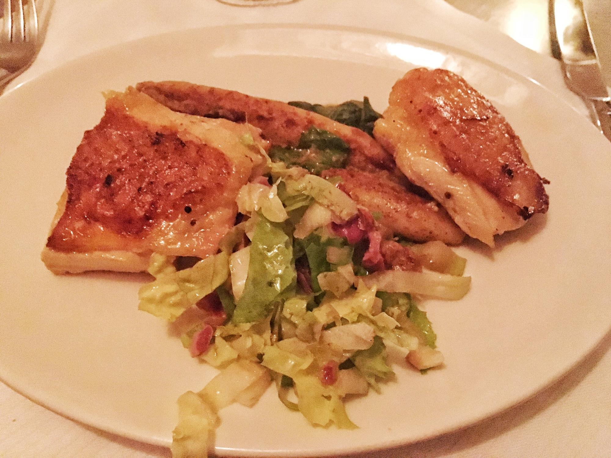 Roast chicken, potato dumpling, mustard, escarole