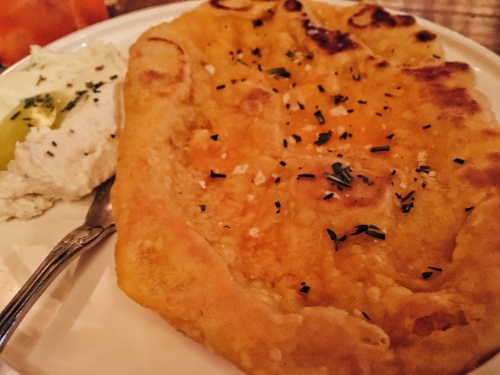 Flatbread with French cheese and olive oil