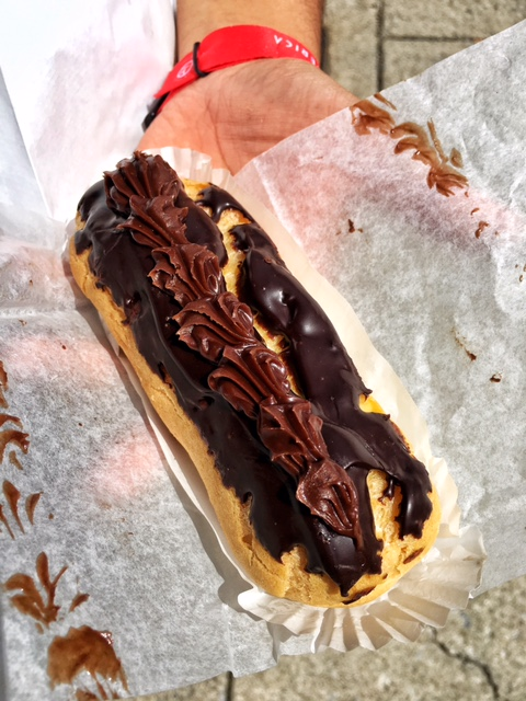 Chocolate eclair with cream inside