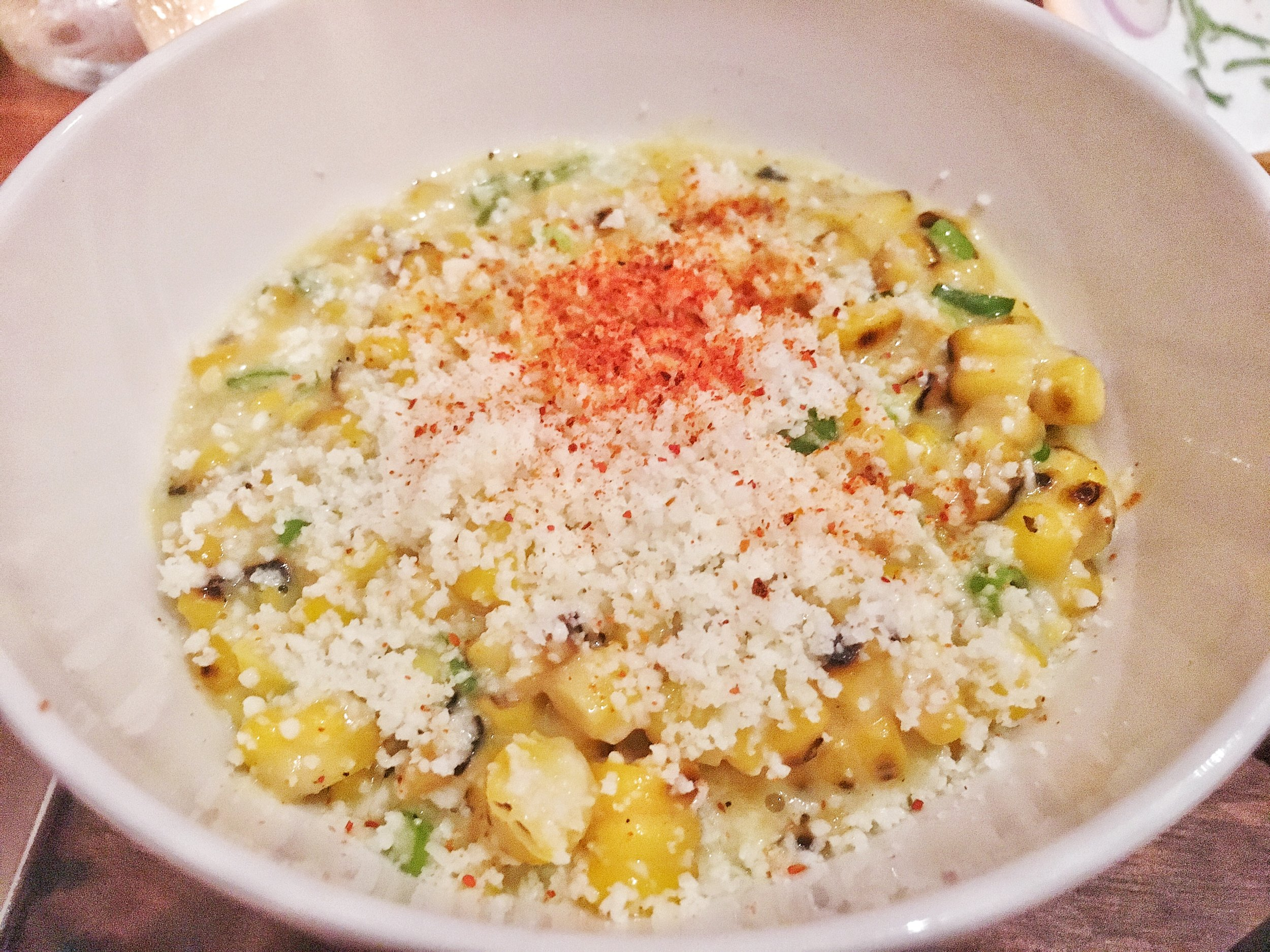 Off the cob new jersey cream of corn, scallion, cotija cheese