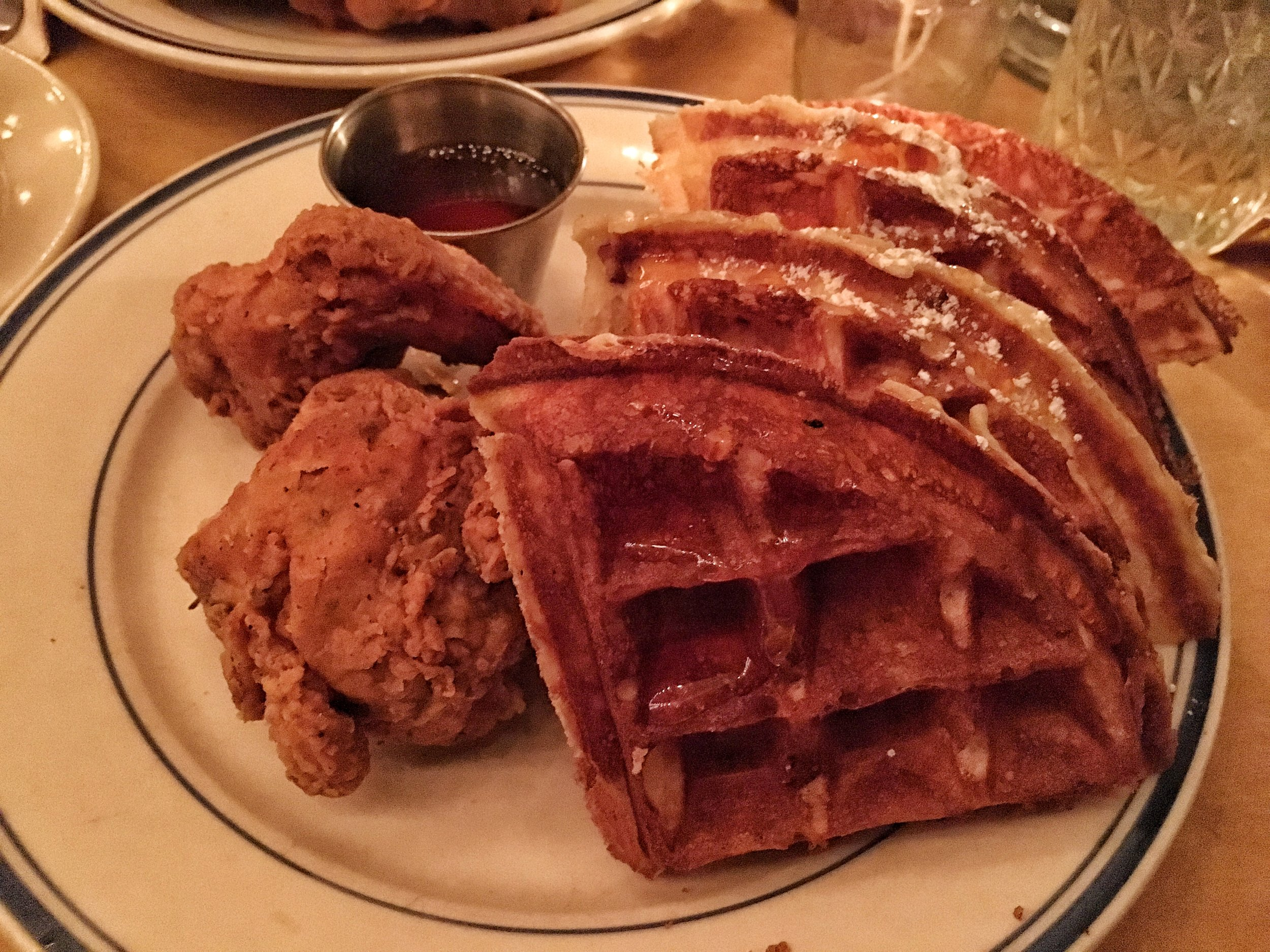 Sweet Chick chicken and spiced pecan waffle with Mike's hot honey sauce