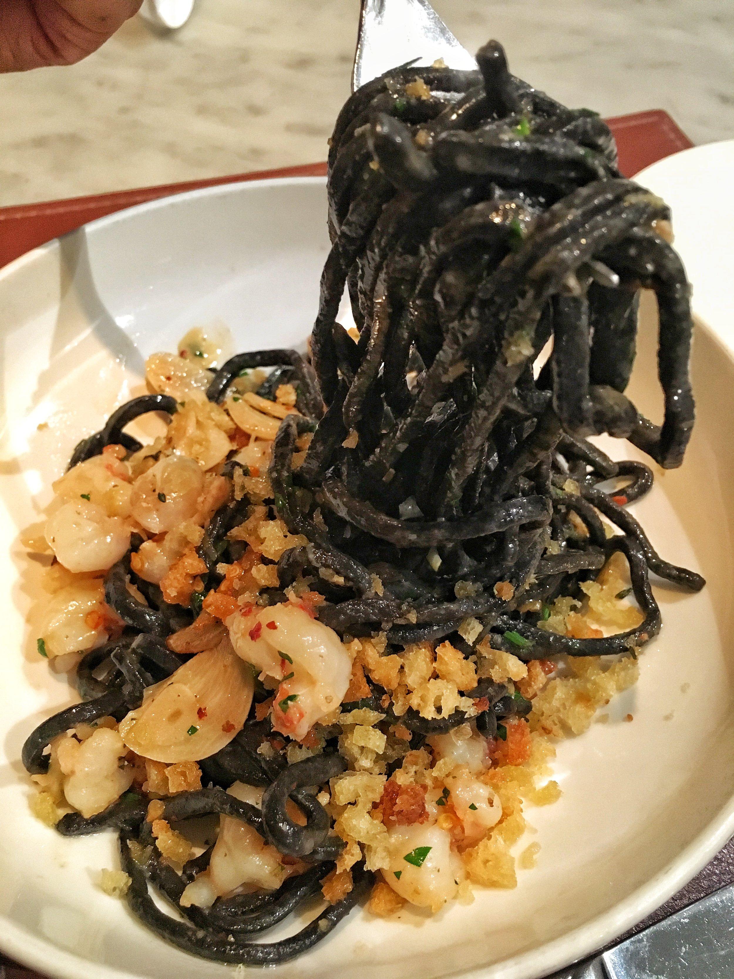 Linguine nero, rock shrimp, chilies, breadcrumbs