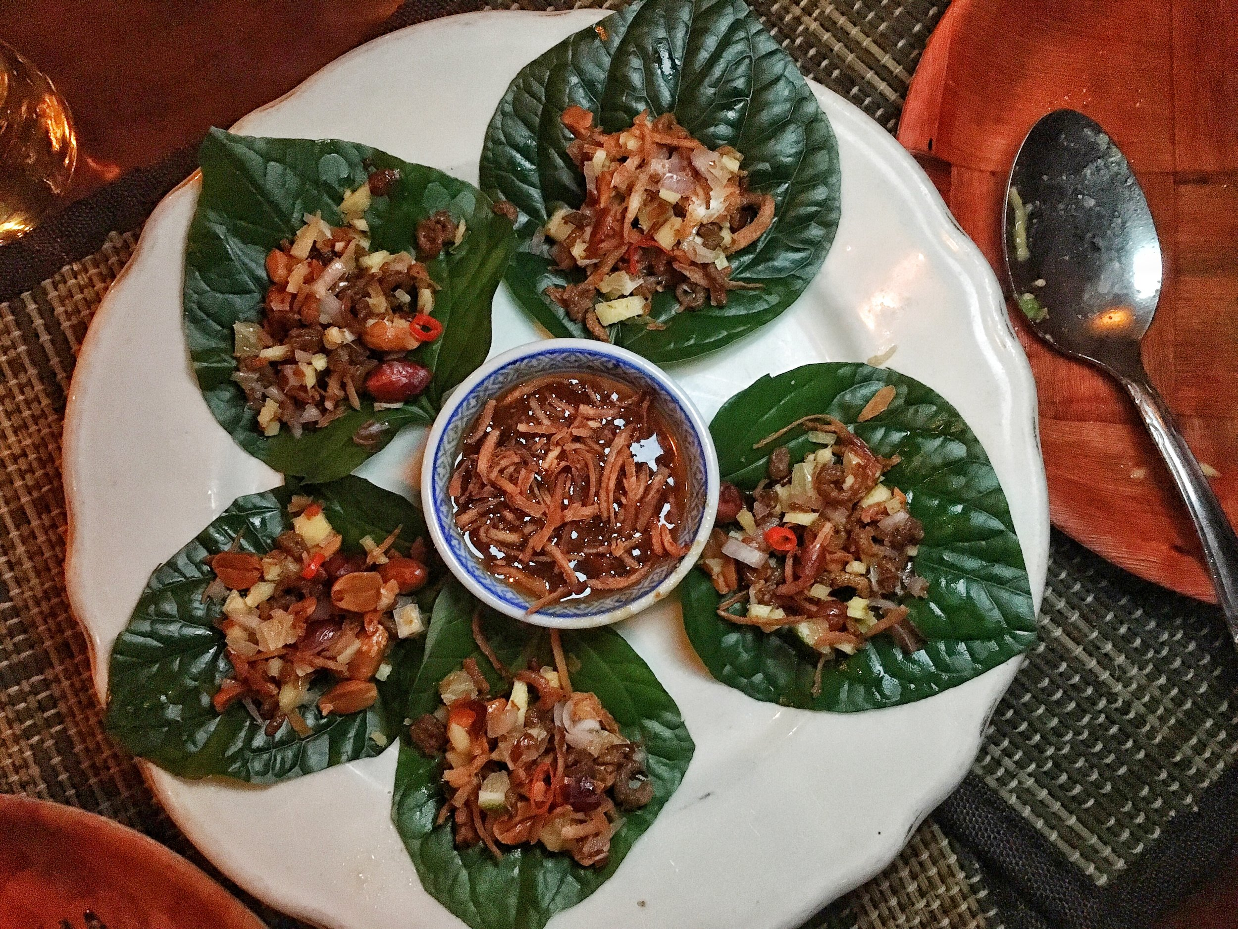 Mieng Kum- Betel Leaf with ginger, lime, toasted coconut, dried shrimp, chilies & peanuts traditional thai snack