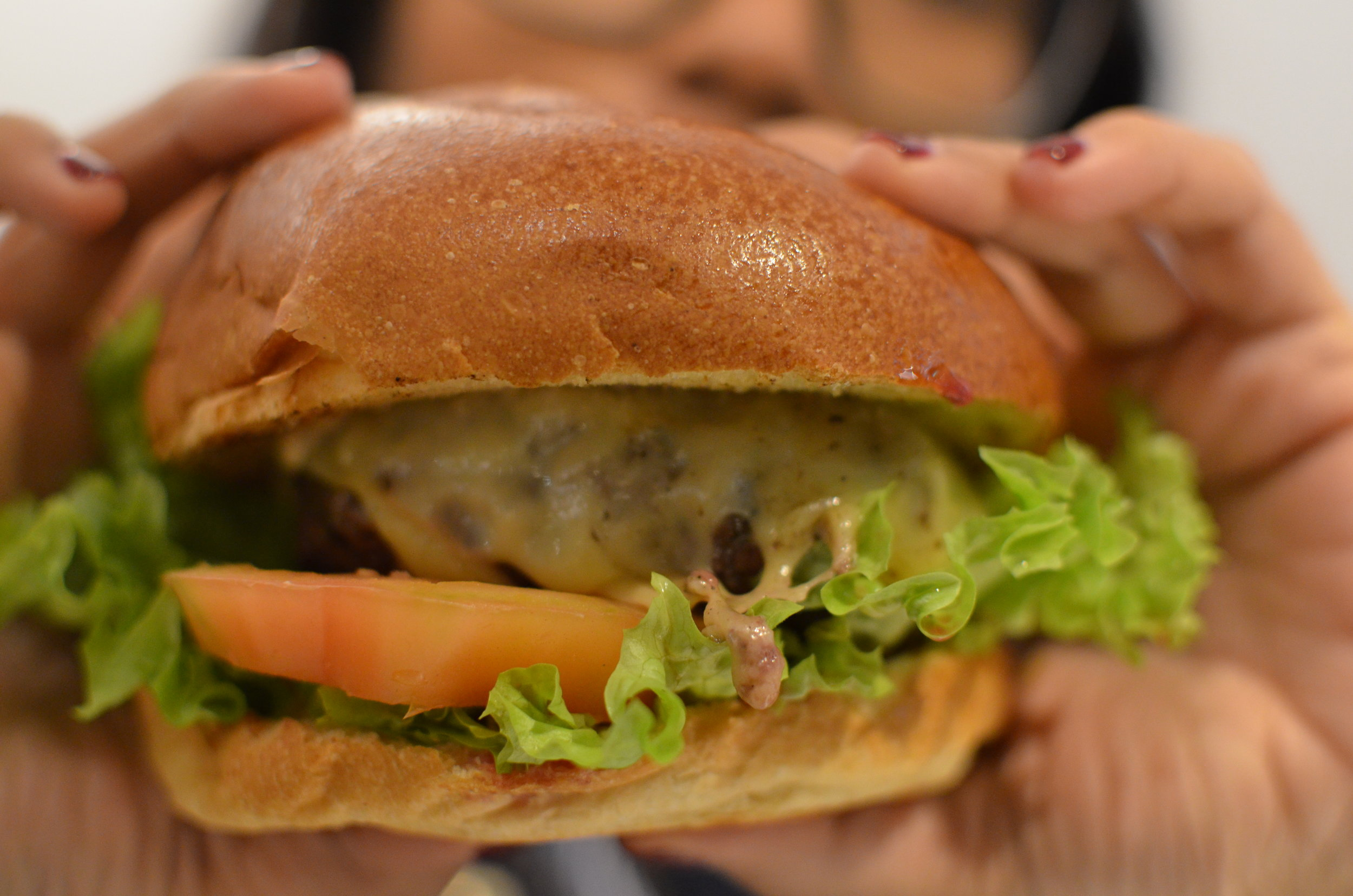 The Butcher with cheese- Prime Aberdeen Angus beef, lettuce, tomato, gherkin, grilled onion & Dutch Edam cheese.