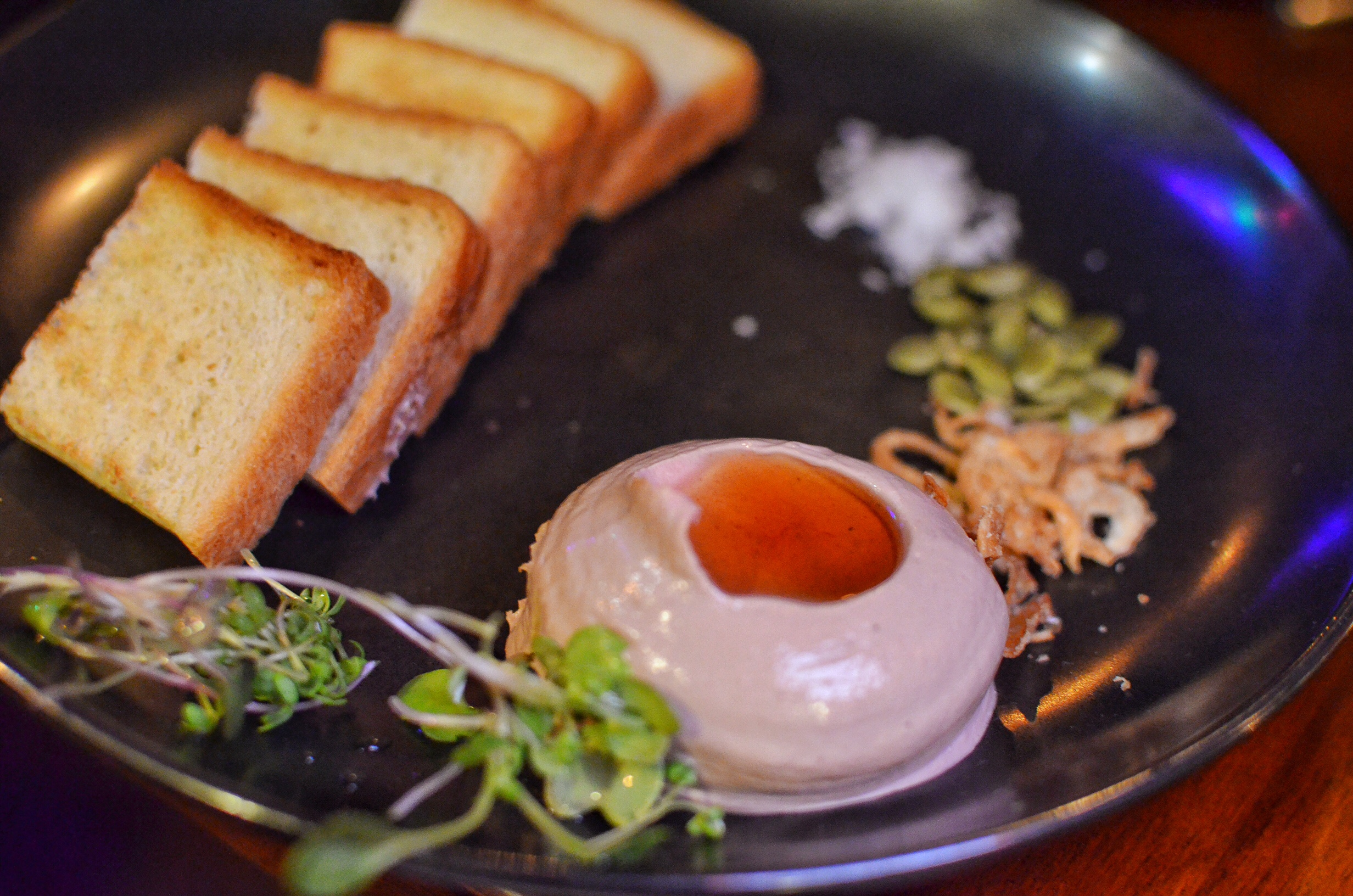 Chicken liver mousse, maple syrup and milk bread