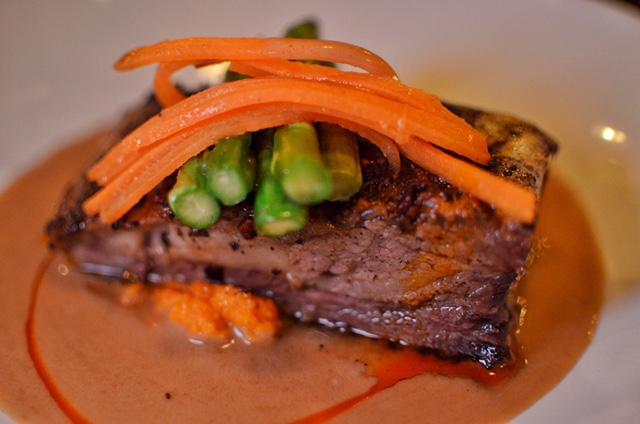Short Rib Kare- parsnip puree, asparagus sesame-hazelnut veloute