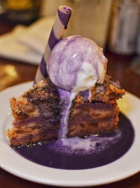 Ube bread pudding with ice cream