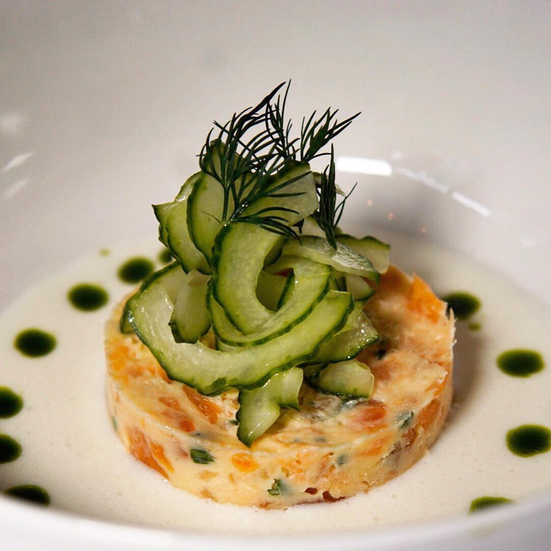 Salmon rillette  with smoked salmon, cucumber and horseradish (PC: @mattbruck)