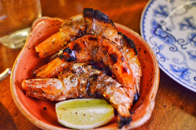 Black Pepper Shrimp, tandoor fired with fresh lime juice