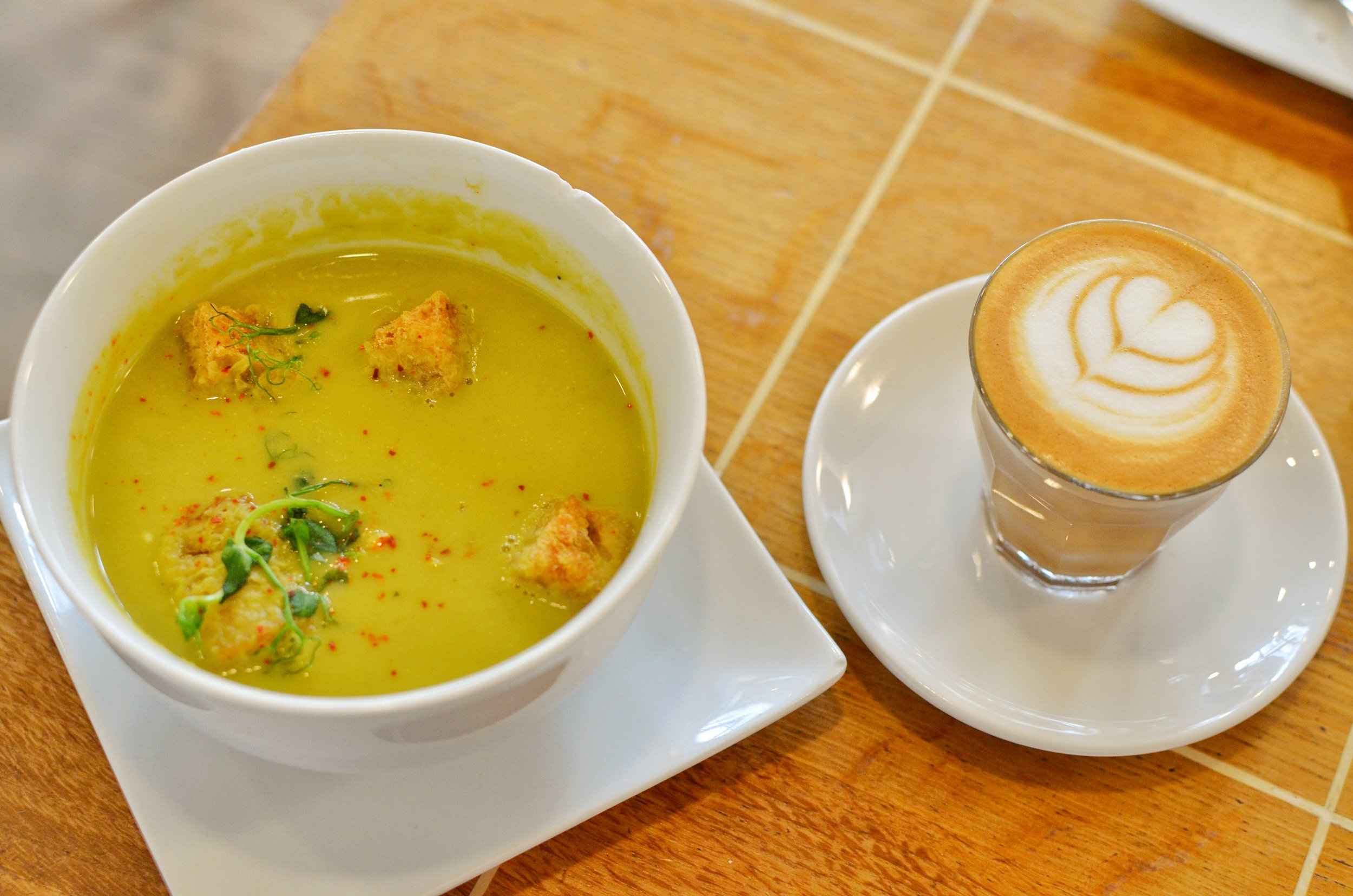 Split pea soup and cortado- The split pea soup was creamy and delicious. The cortado was the perfect way to wake up!