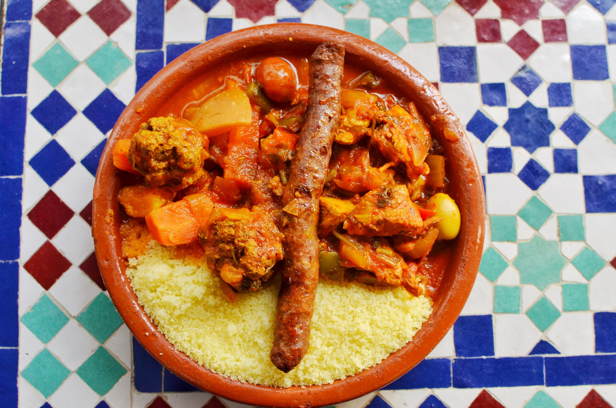 Chicken, kefta, beef tagine with couscous