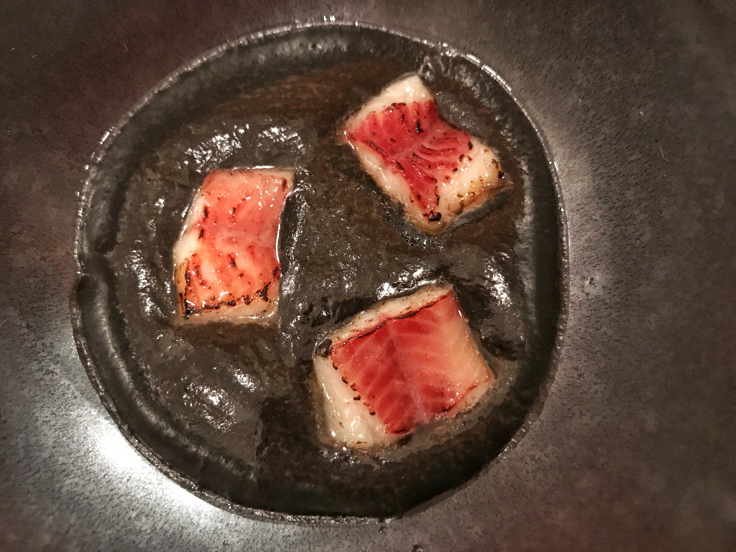 Smoked eel in black sesame sauce- The eel was smoky and paired excellently with the black sesame sauce. I'm a big fan!