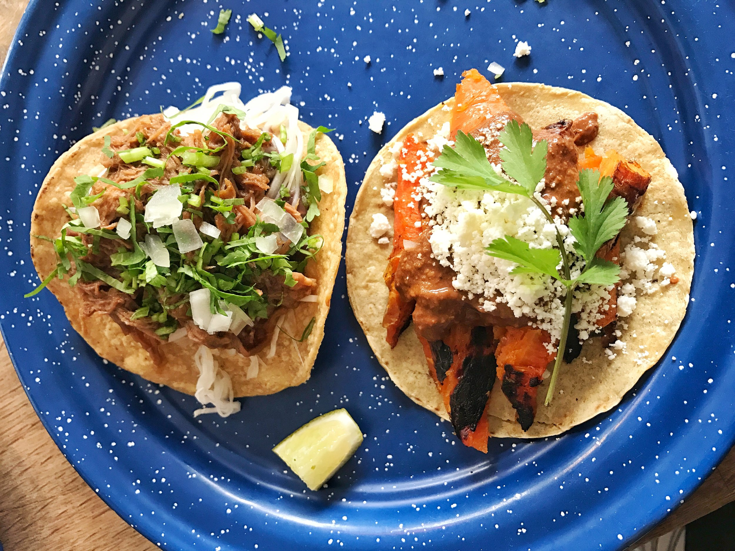 Short rib taco and carrot taco- The short rib tacos were well seasoned and tasty but the roasted carrot taco with mole sauce and cotija cheese was the star. You'll forget you're eating vegetables.