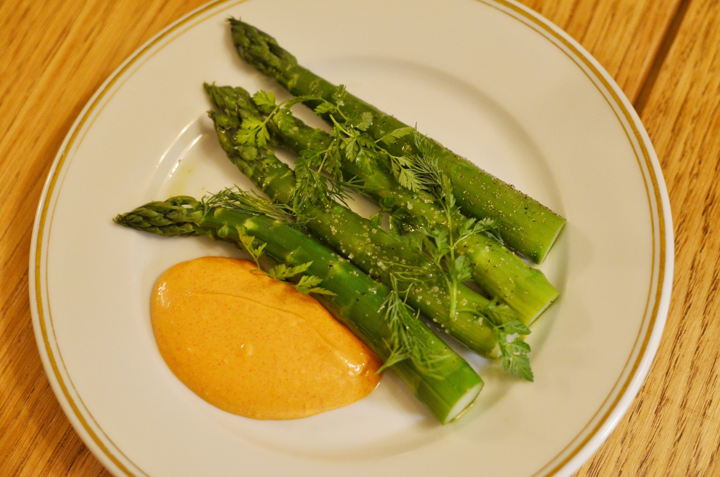 Asparagus with pepper sauce- Asparagus was in season when we were in Paris so we had many versions of it. This was one of my favorite versions! The asparagus was cooked in olive oil and drizzled with fleur de sel with a side of pepper sauce. Very simply yet amazing.