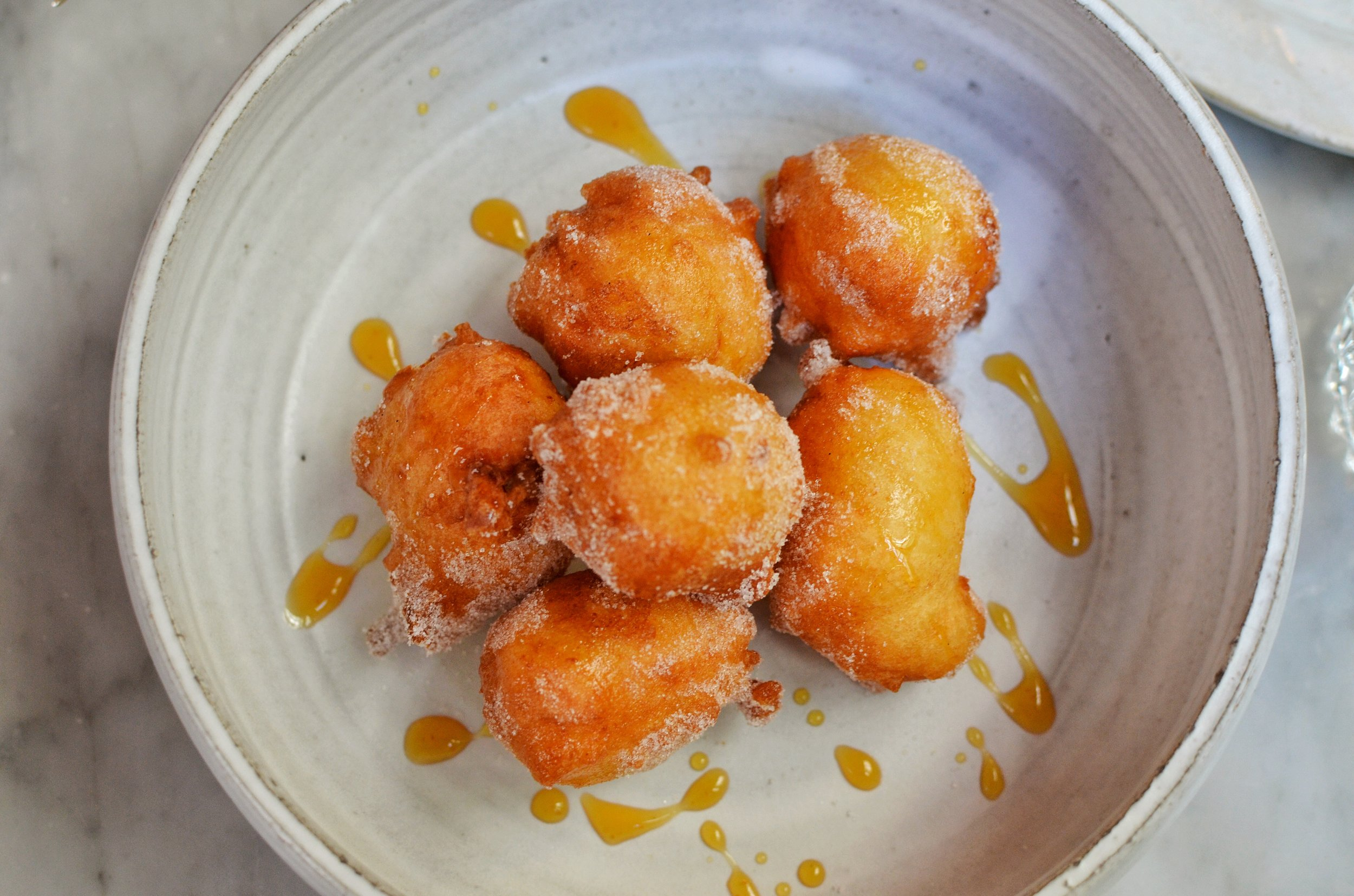 Ricotta donuts, whey caramel, vanilla- The ricotta makes these donuts so soft and moist. It's hard to resist eating all of them at once.