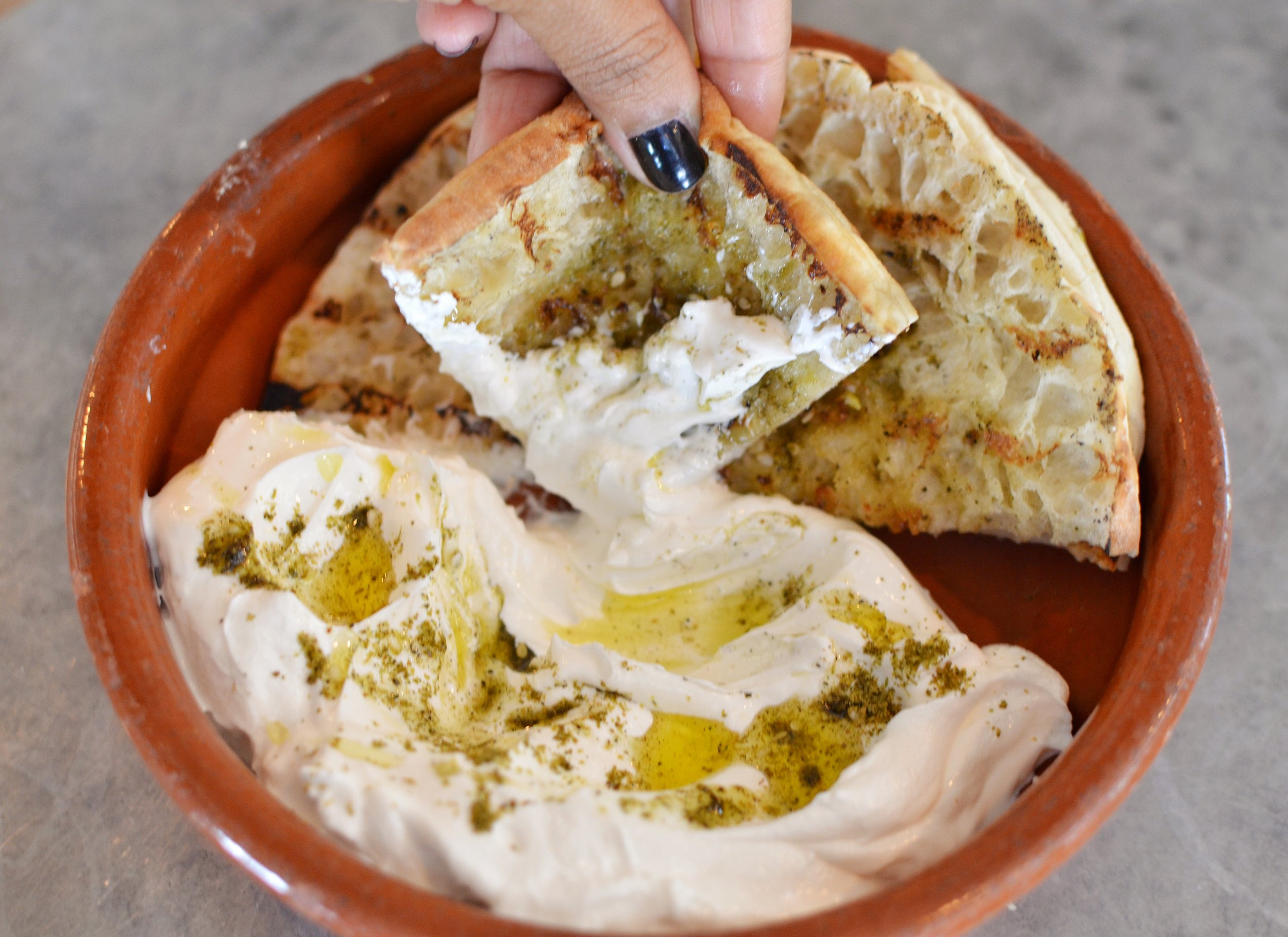 Labne with pita bread