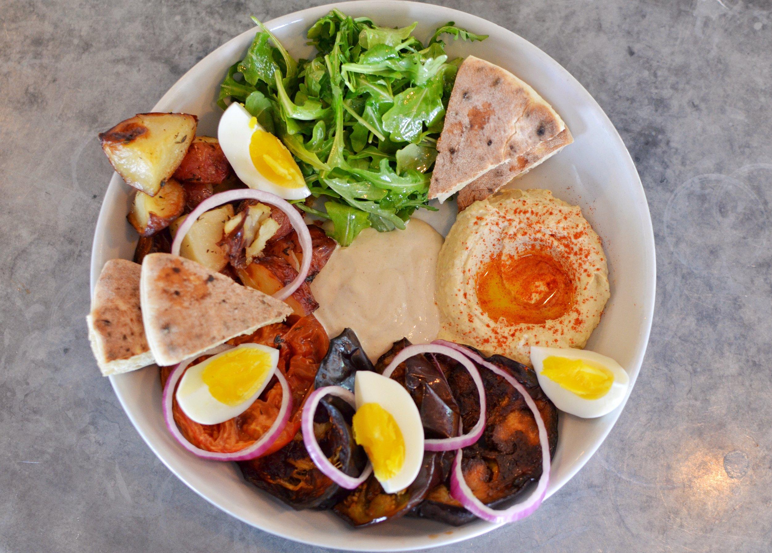 Sabich platter- tahini, hummus, boiled eggs, tomato, eggplant, onions