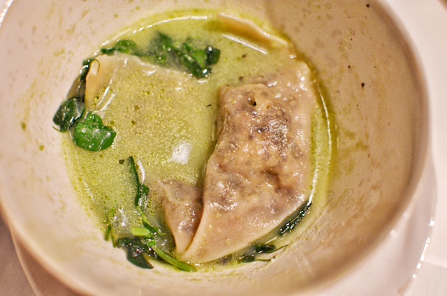 Morel wonton, summer vegetables, aromatic broth
