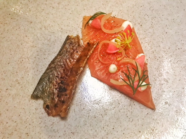 Trout- cured & cold smoked, last season's pickles