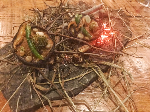 Mushroom- clover & timothy hay, blueberry wood