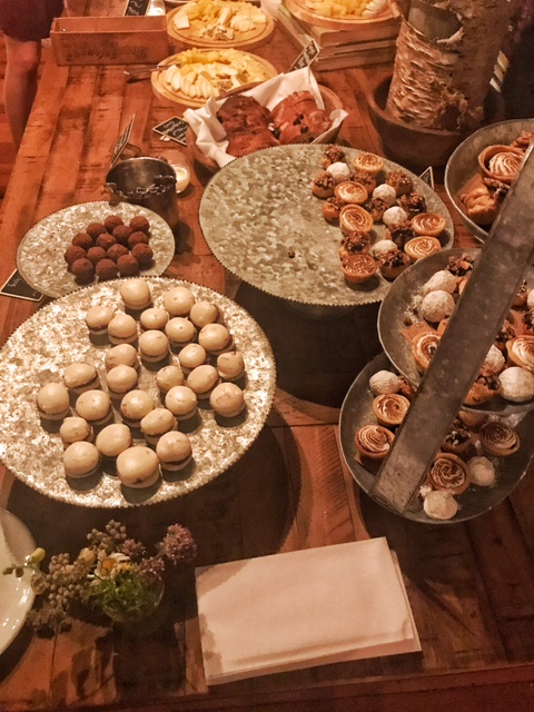 Display of after dinner cheese and desserts