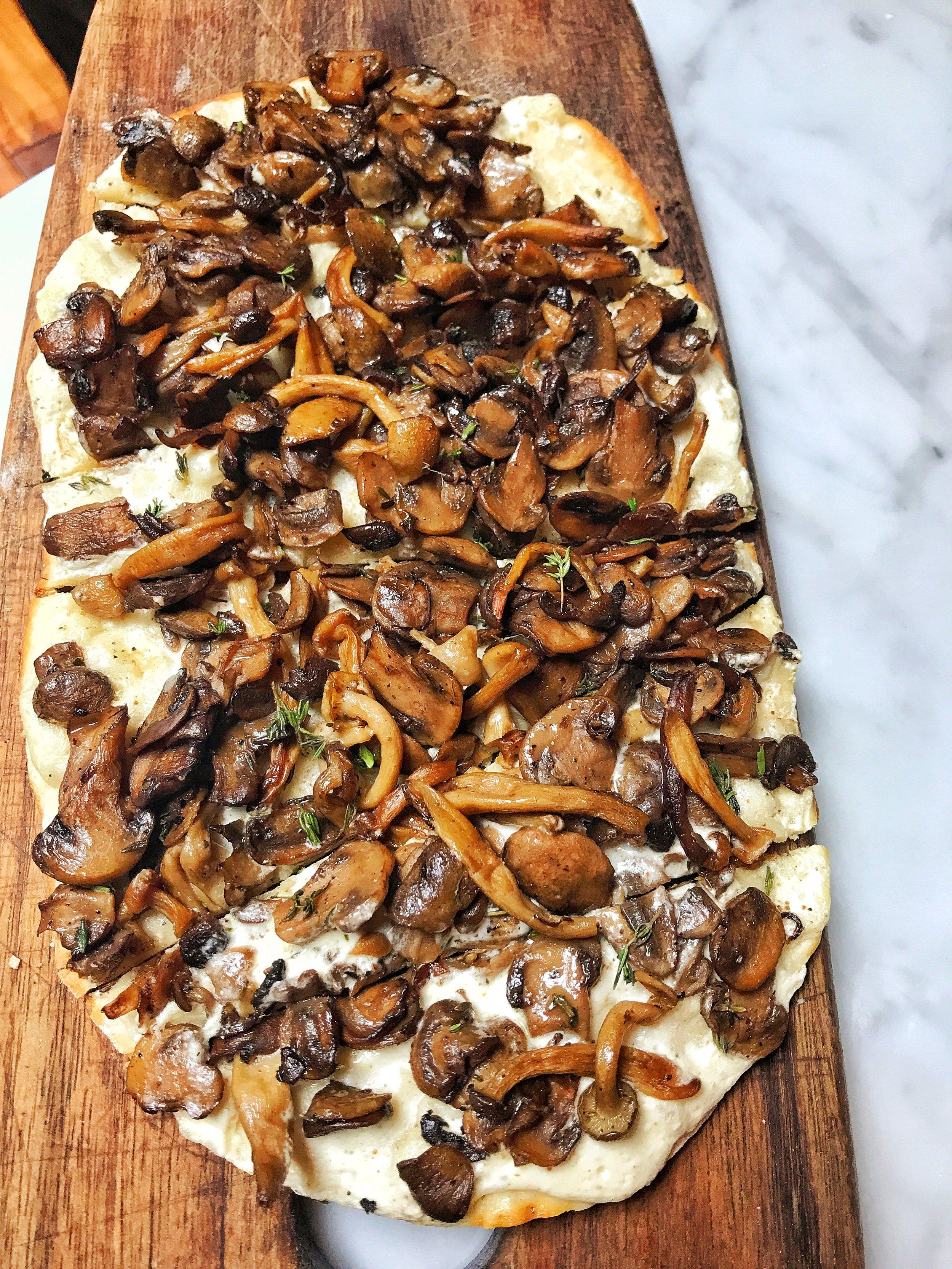 Wild mushroom and creme fraiche flatbread