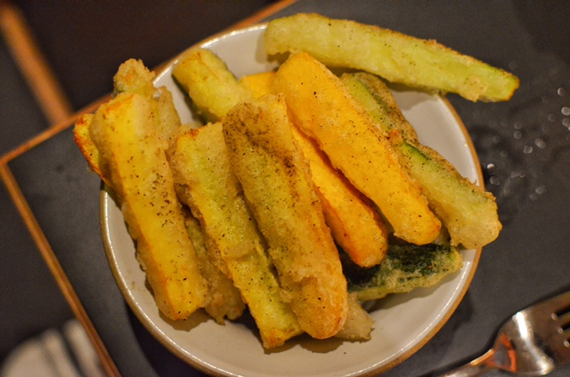 Zucchini 'fries' with with lemon-parmesan dressing