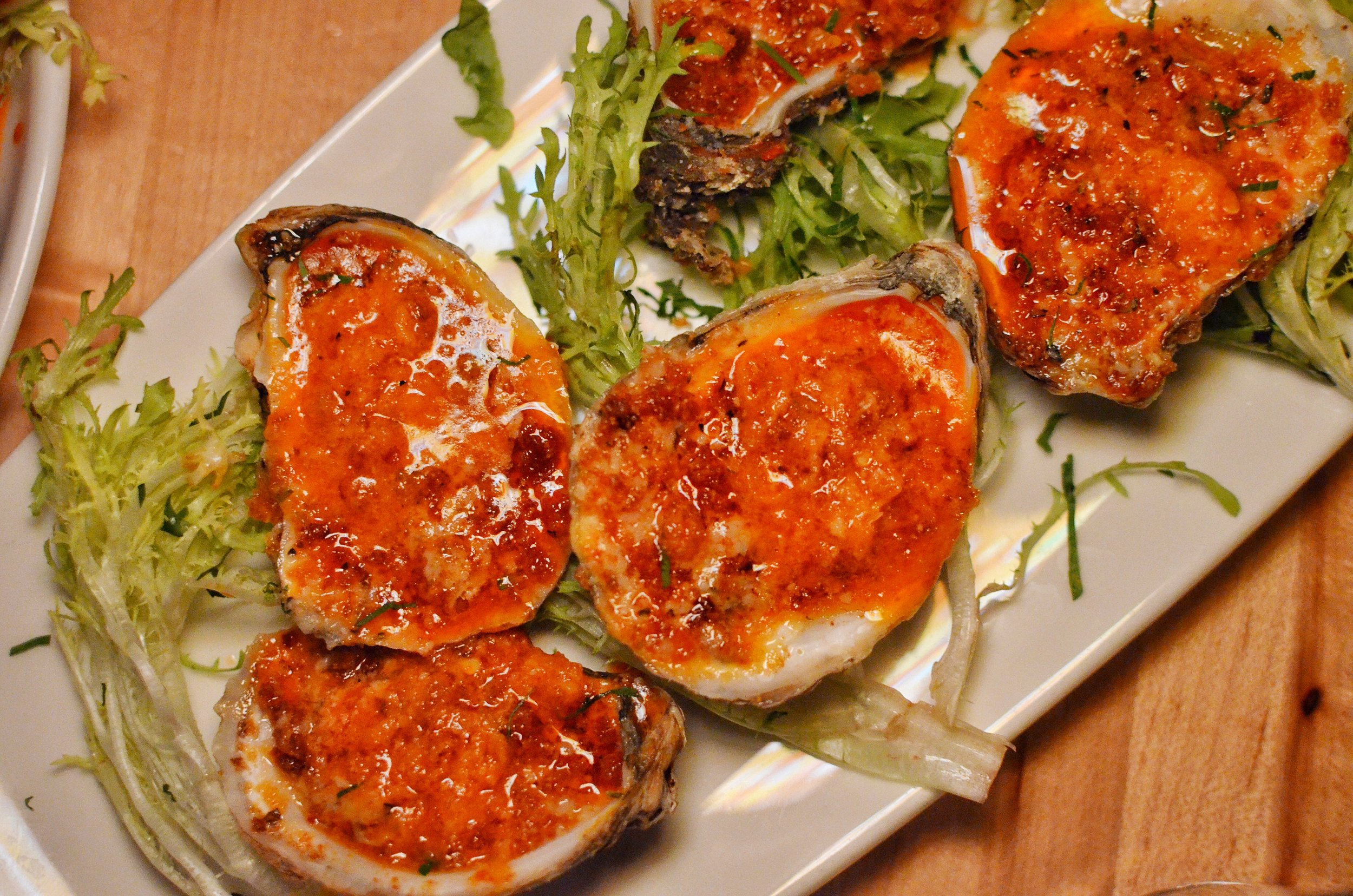 Grilled Oysters with Spicy Garlic Butter & Breadcrumbs