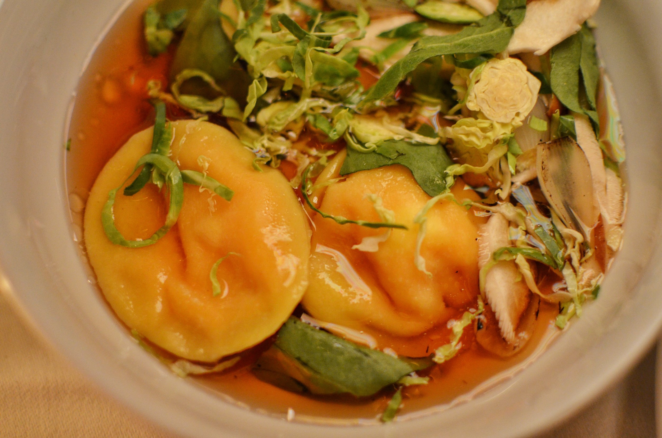 Pumpkin ravioli, shiitake consomme, fall spices