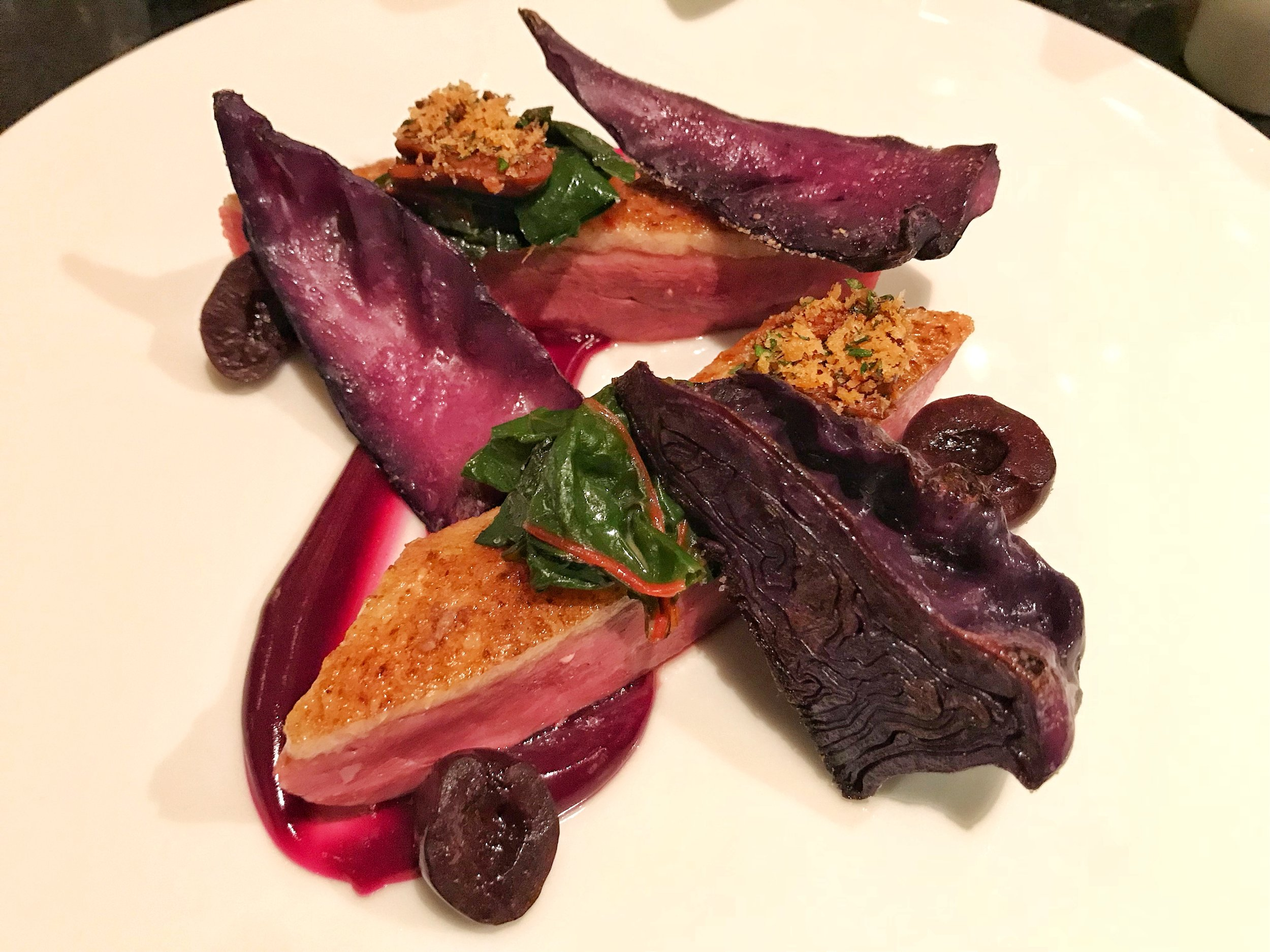 Roast Venison Loin from c.1850- Braised & grilled red cabbage, pickled cherries