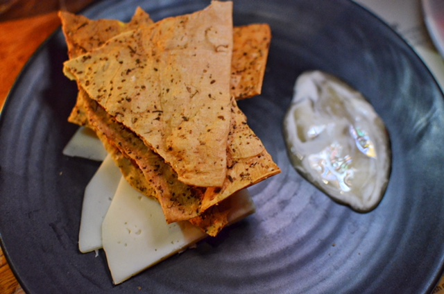 'Montealva', whipped honey goat cheese with housemade crackers