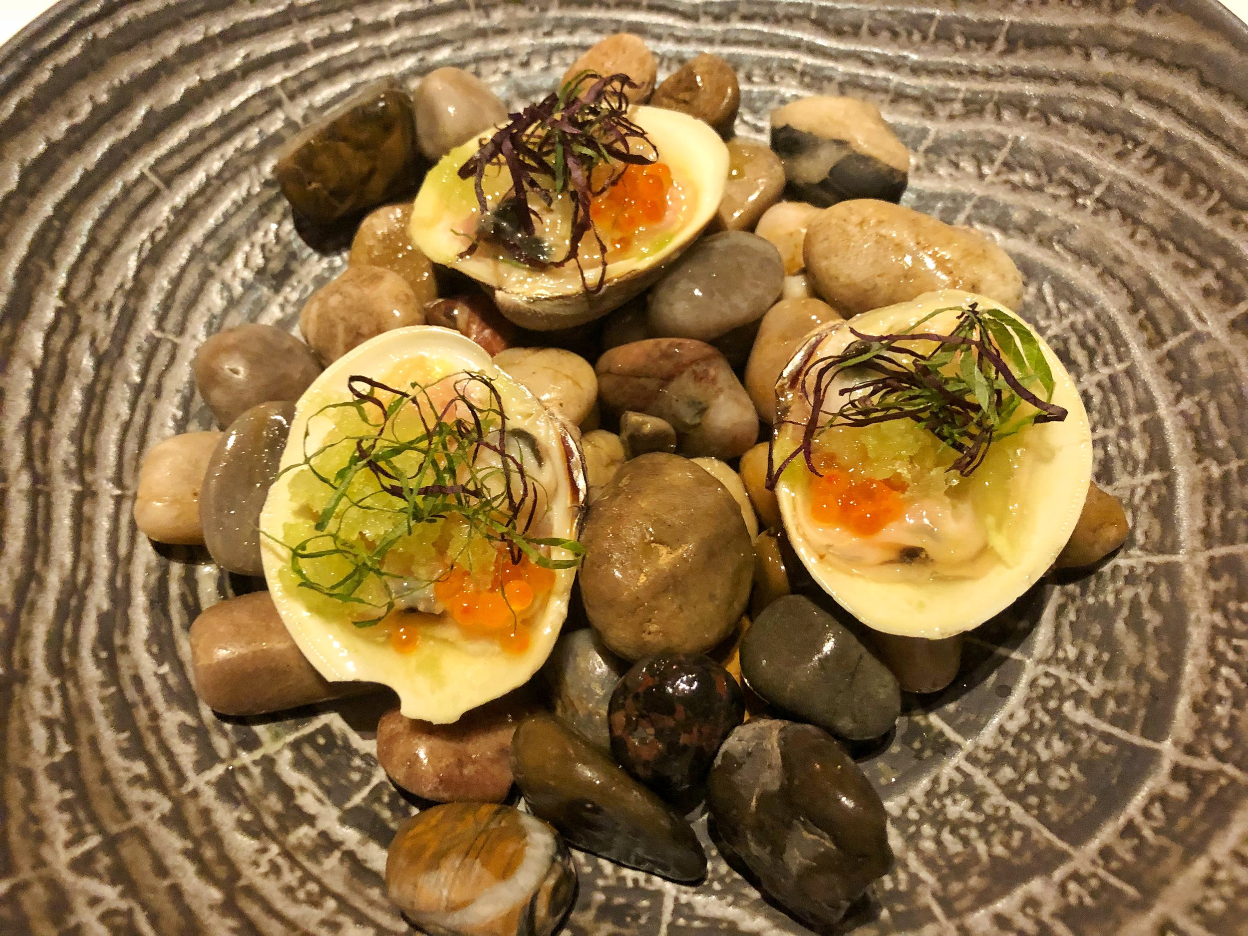 John's River oysters, cucumber granite and smoked trout roe