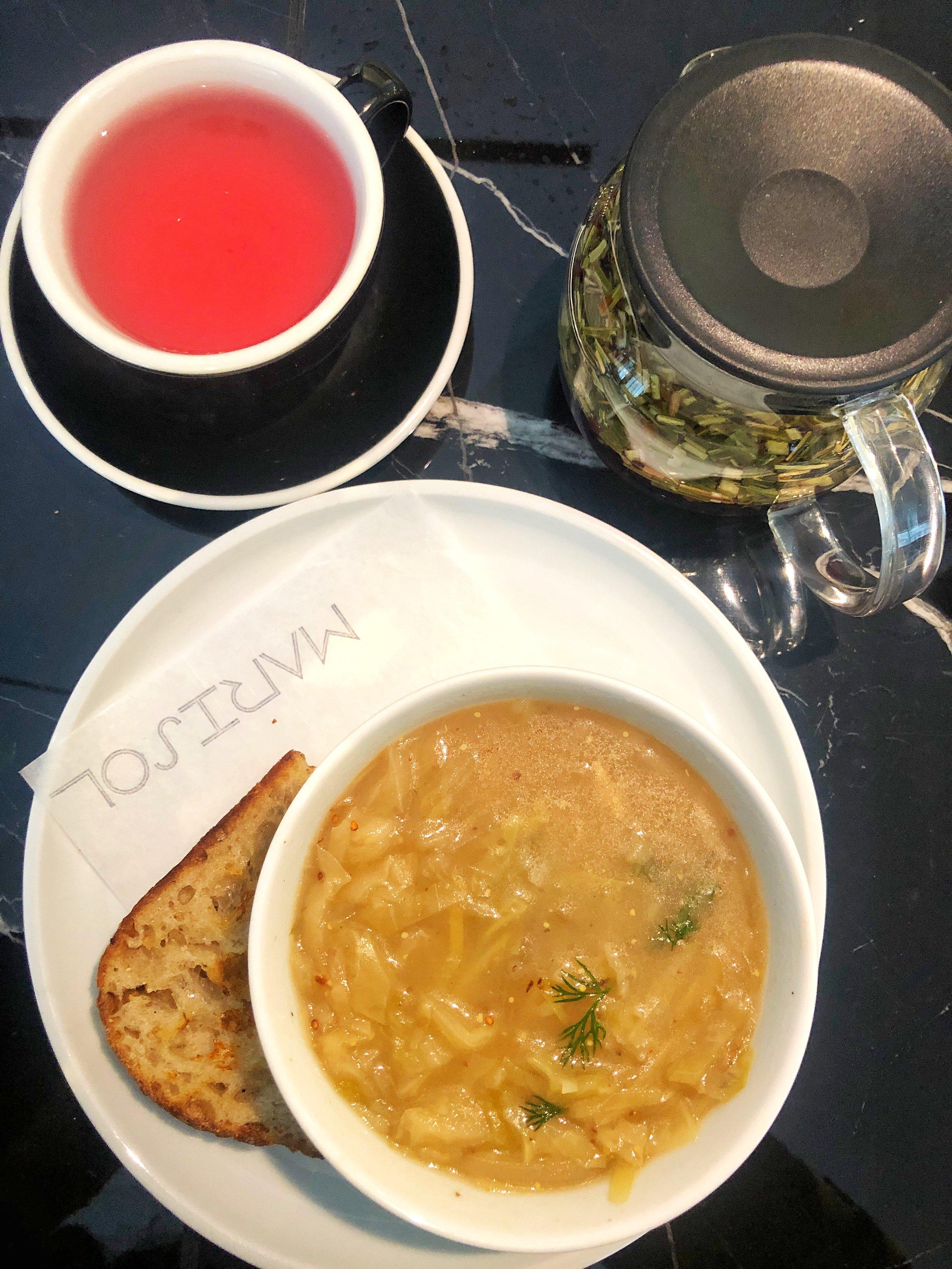 Onion, fennel, potato soup with a side of tea