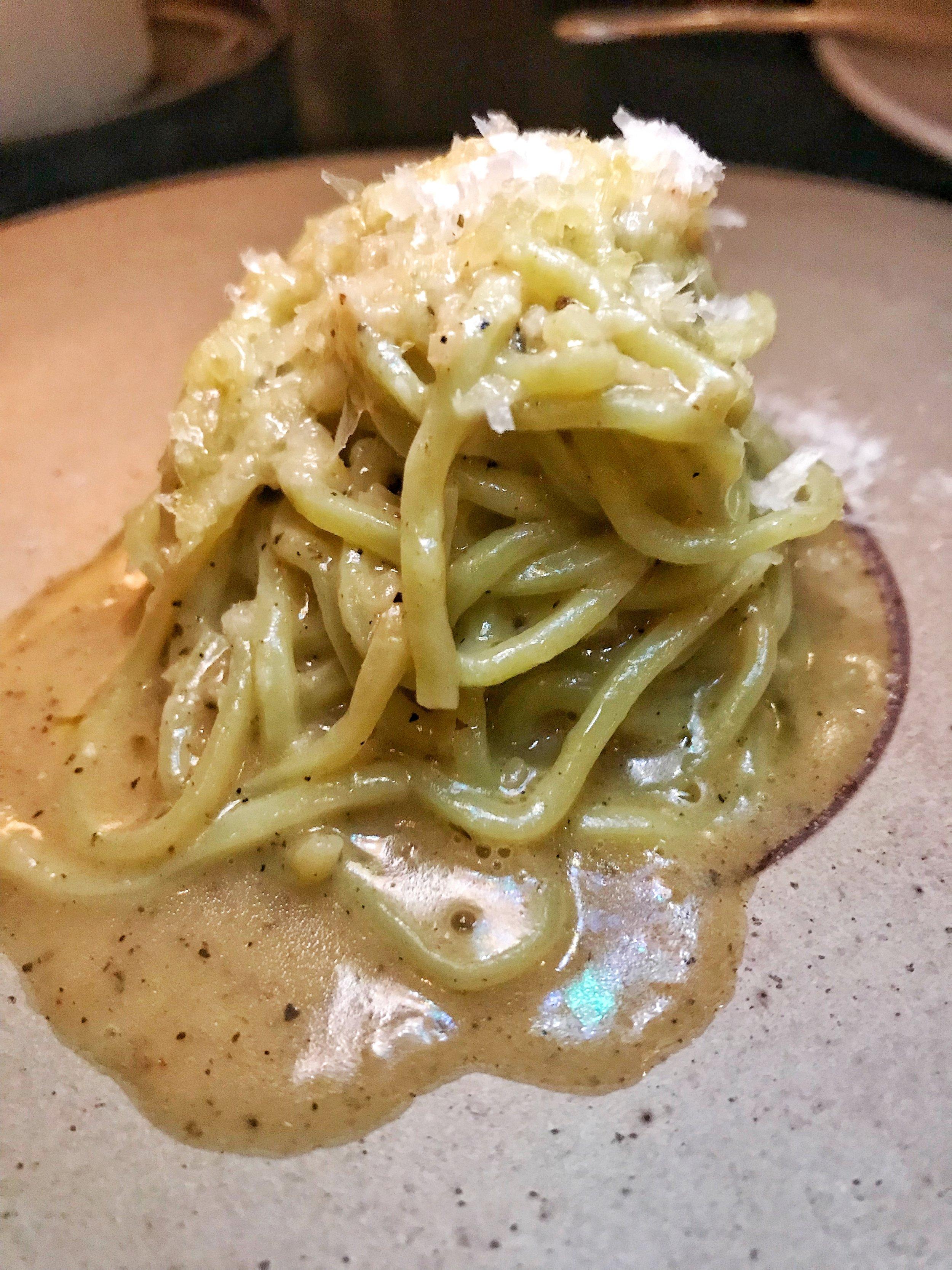 Pasta course (cacio e pepe style)