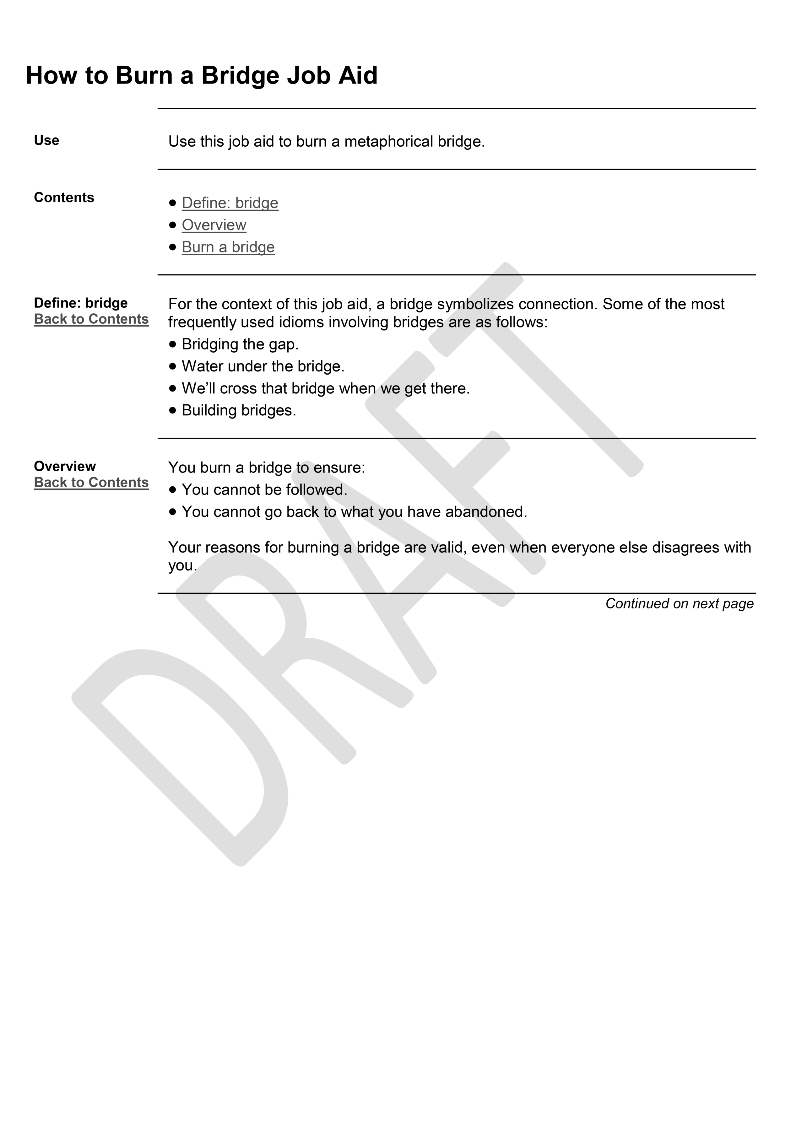 How To Burn A Bridge Job Aid Page 1