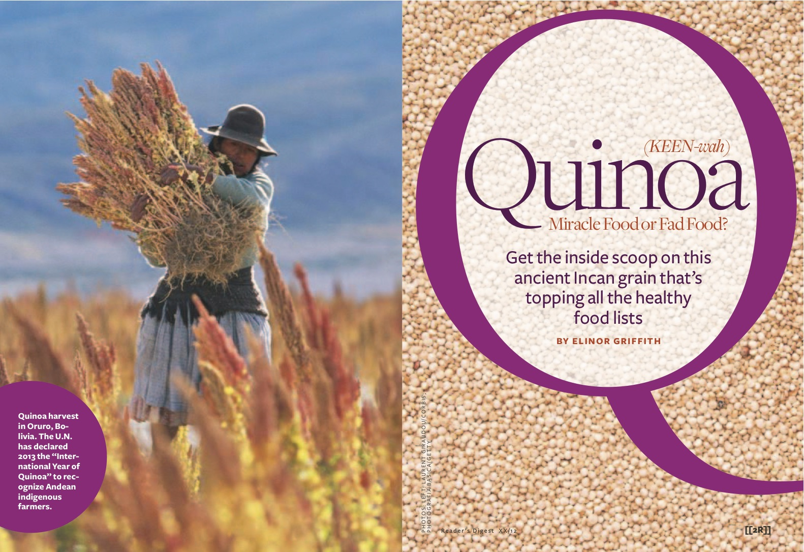 Reader's Digest ran Elinor's article on quinoa in Europe, Russia and elsewhere