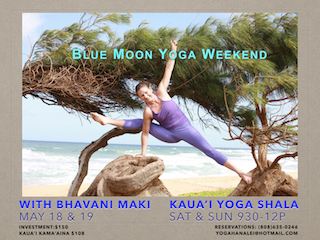 Blue Moon Yoga Weekend w/ Bhavani Maki May 18 - 19 Sat & Sun 9:30-12p at Yoga Kaua'i Shala investment: $150  Kaua'i Kama'aina $108 reservations / info: yogahanalei@hotmail.com